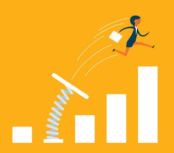 A cartoon image of a business woman being catapulted upward and forward.